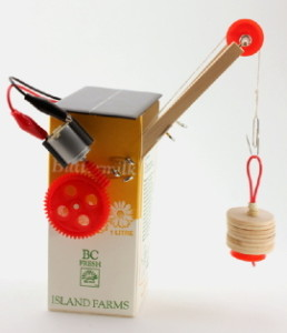 solar toy crane made with milk carton