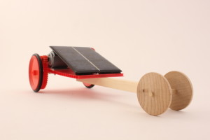 solar toy dragster with wooden wheels