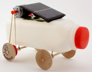Solar toy car made with juice bottle