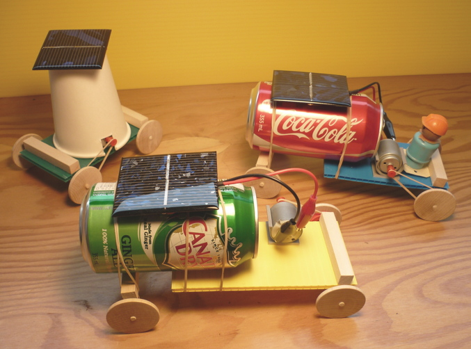 solar toy cars made with pop cans