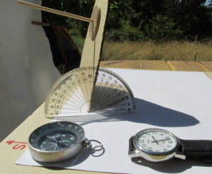 SunTracker with compass, watch, and protractor