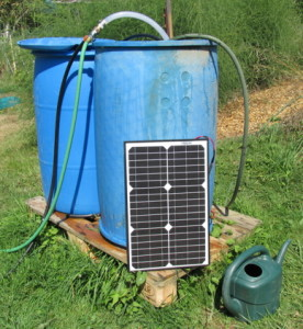 25-watt solar panel with 12-volt pump in barrel